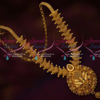 Broad Emboss Design South Indian Gold Covering Jewellery Short Necklace Online