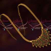 South Indian Jewellery Models AD Stones Chain Pendant Gold Covering