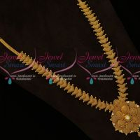 South Indian Jewellery Gold Covering Long Necklace Fancy Designs Online