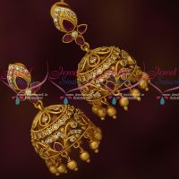 Bridal Artificial Jhumkas Ruby White Stones Latest Matte Antique Jewelry Online