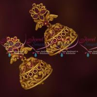 Artificial Jewellery Matte Finish Jhumkas Latest Designs Ruby Stones