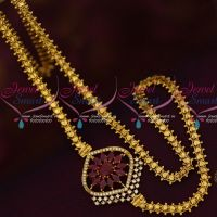 South Mugappu Models Gold Covering Chain AD Marquise Ruby Stones Online