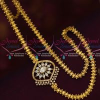 South Mugappu Models Gold Covering Chain AD Marquise White Stones Online