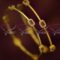 Ruby White Stones Thin String Bangles Simple Elegant Stylish Imitation Jewellery Shop Online