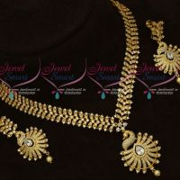 Latest Artificial Jewellery Designs AD White Stones Fancy Necklace Set