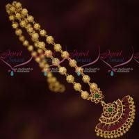 Beads Mala Ruby Pendant Attiga Design Fancy Gold Covering Jewellery Online