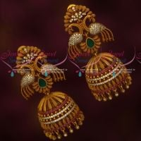 Peacock Design Jewellery AD Stones Big Size Matte Antique Imitation Jhumka Online