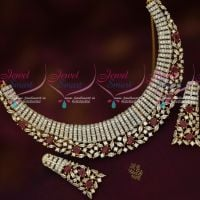 Diamond Jewellery Inspired Imitation Short Necklace Ruby White Stones