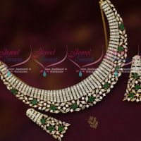 Two Tone Gold Silver Plated Diamond Finish Imitation Jewellery Emerald Green Stones