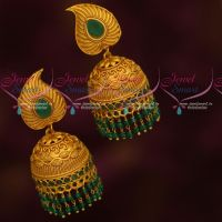 Traditional Gold Design Fashion Jewellery Green Double Layer Beads Jhumka