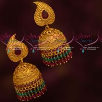 Traditional Gold Design Artificial Jewellery Green Double Layer Beads Jhumka