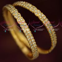 South Indian Thick Metal Getti Item AD Hand Setting Stone Bangles Online