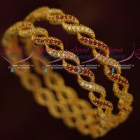 Fancy Gold Model Covering Bangles Latest AD Stones Imitation Jewellery Online