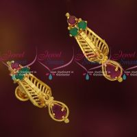 Small Size Gold Covering Daily Wear Screw Lock Ear Studs South Indian Designs Online