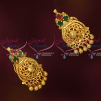 Ruby Emerald Gold Covering Ear Studs for Women Daily Wear Jewelry
