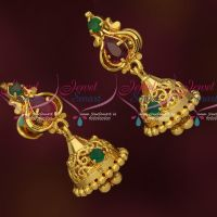 Artificial Jewelry Small South Indian Screwback Jhumka AD Stones Online