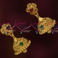 Artificial Casting Gold Covering Jewelry Screwback Jhumka AD Stones Online