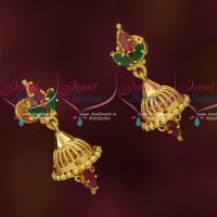 Gold Model Imitation Jhumka Small Size AD Stones Daily Wear Designs Online