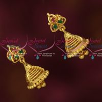 Fancy Gold Covering Jewellery Daily Use Jhumka Earrings AD Stones Collections
