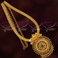 Ruby Emerald South Indian Gold Plated Jewellery Chain Pendant Traditional Designs