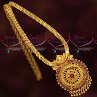 Ruby Stones South Indian Gold Plated Jewellery Chain Pendant Traditional Designs