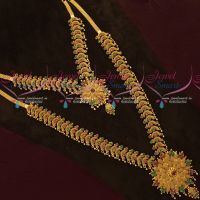 South Indian Gold Covering Necklace Haram Combo AD Jewellery Set Online