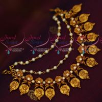Ruby Stones God Engraved Coin 3 Layer Mattal Earchains Latest Traditional Jewellery Designs