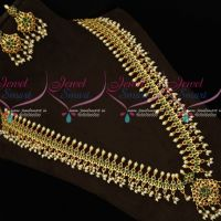 Gold Plated Ruby Emerald AD Stones Gutta Pusalu Haram South Indian Jewellery
