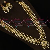 Gold Plated AD Stones Gutta Pusalu Haram South Indian Traditional Jewellery