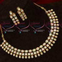 3 Line AD Stones Kundan Style Jewellery Set New Model Jewellery Online