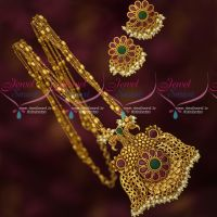 Multi Strand Chain Peacock Ruby Emerald Pendant Matching Ear Studs Online