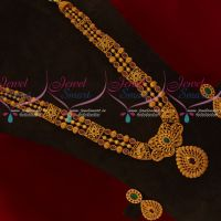 Latest Antique Matte Gold Plated Beads Model Mugappu Haram Big Pendant Semi Precious Stones