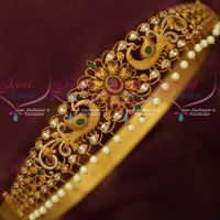 Antique Matte Finish Bridal Jewellery AD Stones Peacock Oddiyanam Latest Designs