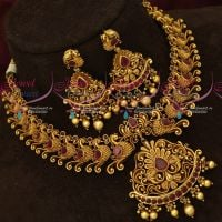 Broad Antique Fashion Jewellery Peacock Design Matte Finish Necklace