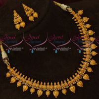 Beautiful Gold Finish Emerald Green Stones Antique Fashion Necklace Set Online
