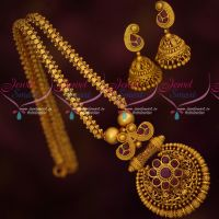 Ruby Stones Intricately Finished Trendy Chain Pendant Set Matte Gold Plated Jewellery