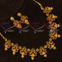 Peacock Design Matte Antique Flexible Design Necklace Set Latest Jewellery