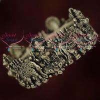Silver Oxidised Bahubaali Style Temple Jewellery Single Piece Broad Bangle Screw Open