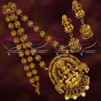 Hand Crafted Imitation Jewellery Antique Gold Finish Beads Mala Temple Pendant
