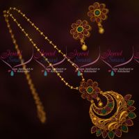 Simple Beads Chain Fancy Floral AD Stones Pendant Set Fashion Jewellery Designs