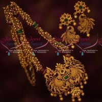 Beads Mala Peacock Floral Pendant Matching Earrings Fashion Jewellery Designs Online