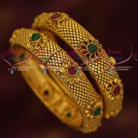 Broad Antique Gold Plated 2 Pcs Set Bangles Screw Open Floral Jewellery