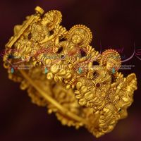 Broad Temple Jewellery Gold Plated Antique Kada Bangles Screw Open