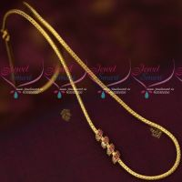 Kodi Chain Gold Covering South Indian Jewellery Ruby Stone Fancy Mugappu Latest Designs