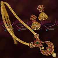 AD Stones Gold Plated Simple Design Daily Wear Long Chain Jhumka Earrings