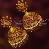 Big Broad Heavy Kemp Red Stones Jhumka Earrings Latest Matte Finish Collections Online