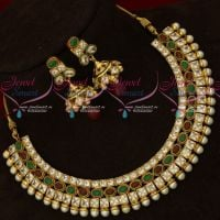 3 Line AD Red Green Stones Kundan Style Jewellery Set New Model Jewellery Online