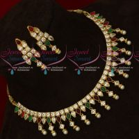 Kundan Style AD Multi Color Stones Sparkling Jewellery Set Party Wear Collections