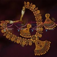 Peacock Imitation Jewellery Latest Trendy Necklace Set Matte Antique Reddish Plated