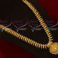 White AD Stones South Indian Mango Haram Gold Plated Regular Wear Jewellery